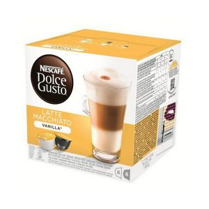 kuva Kahvikapselit laatikossa Nescafé Dolce Gusto 70676 Latte Macchiato (16 uds) Vanilja