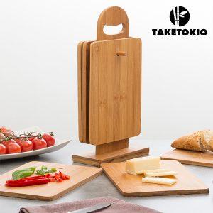kuva TakeTokio Bambu Leikkuulautasetti Jalustalla (7 osaa)