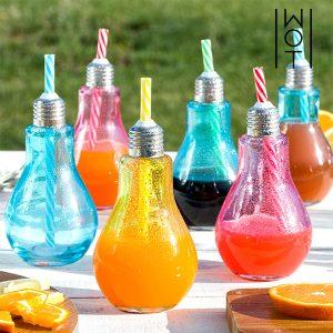 kuva Värilliset Hehkulamppu Juomalasit Pillillä 250 ml (6 kpl pakkaus)
