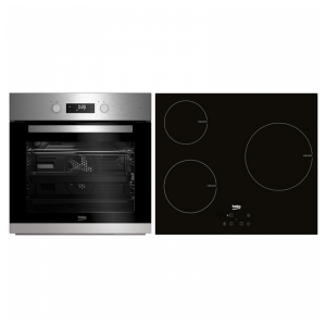 kuva Yhdistelmä: uuni + lasikeraamiset keittolevyt BEKO BSE22341X 65 L Touch Control 5900W Ruostumaton teräs Musta